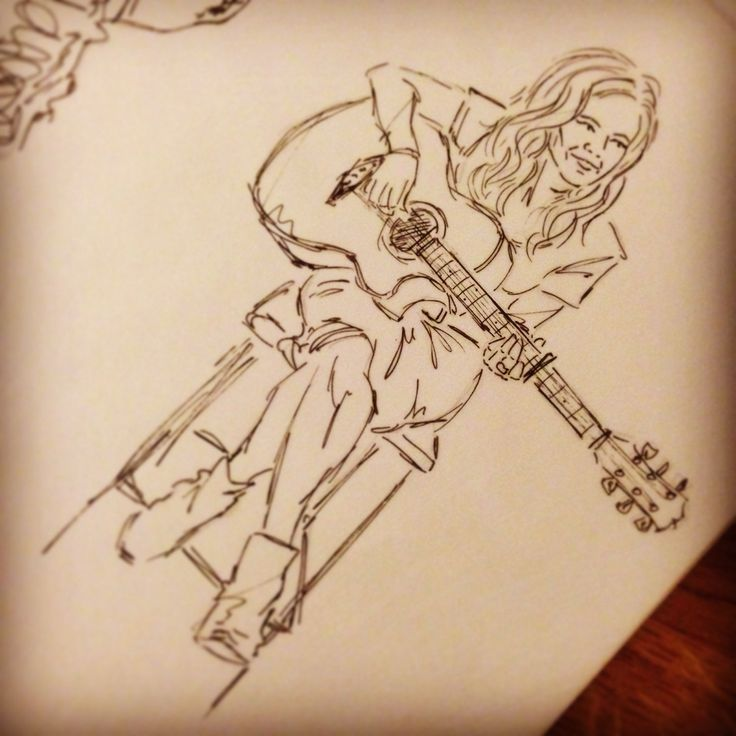 A wee look at the original pen drawing that became the final Guitarist illustration print - I do have a big soft spot for this musical lady!