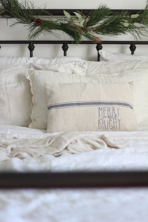 Embroidered Merry and bright grain sack pillow cover Farmhouse on Boone