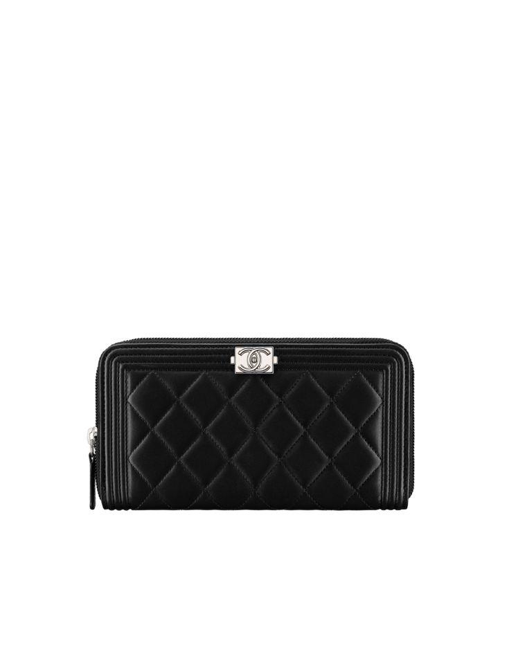Boy CHANEL zip wallet, lambskin-black - CHANEL