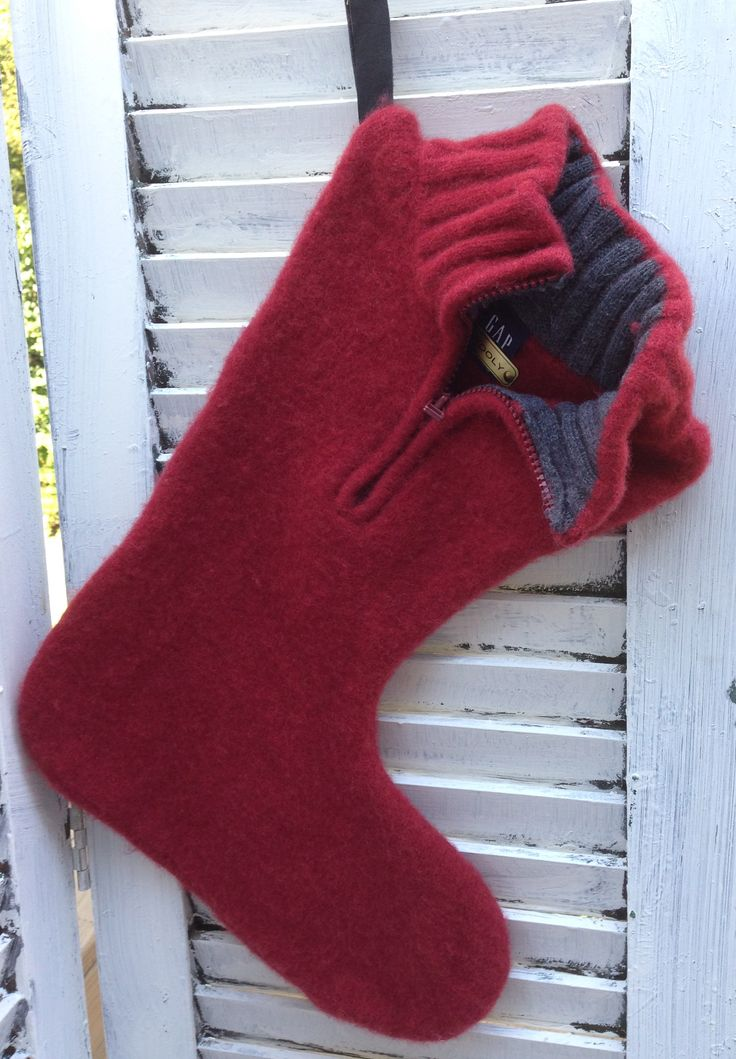 Felted recycled Gap 100% wool sweater Christmas Stocking