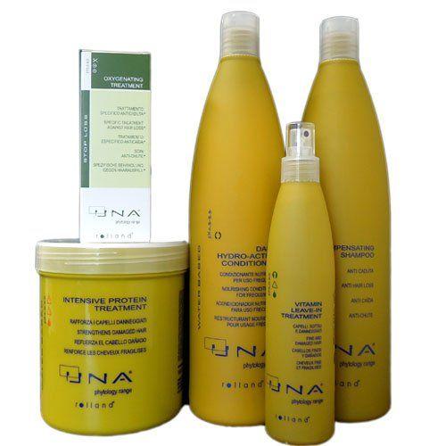 nice Una Oxygenating Treatment 3.17 oz, Una Intensive Protein Treatment 1000ml, Una Daily Hydro-active Conditioner 1000ml, Una Compensating Shampoo for Hair Loss 1000ml, UNA Vitamin Leave-in Treatment 8.5 oz - 5 Set