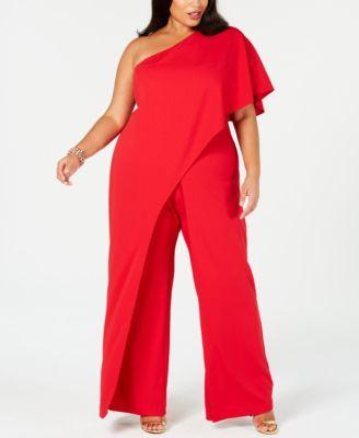 53efa5335516 Plus Size Draped One-Shoulder Jumpsuit in 2019