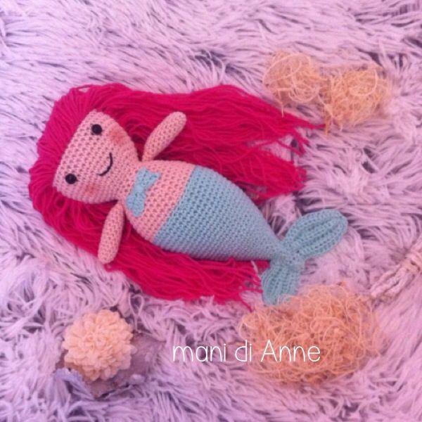 Crochet mermaid / gehaakte zeemeermin gemaakt door Annemarie Evers / mani di Anne