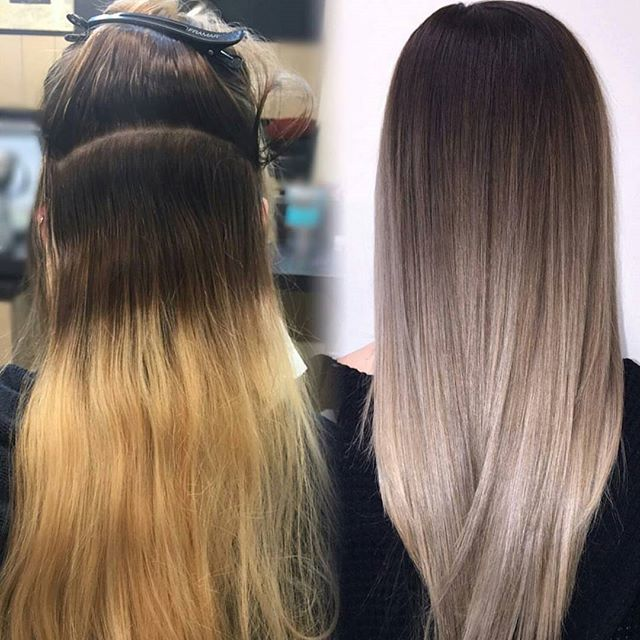Before and after transformation by @lisalovesbalayage.