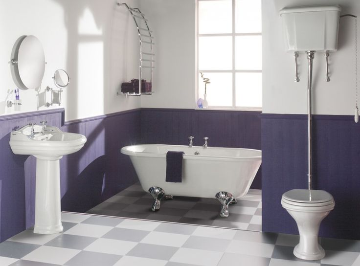maybe instead of an all purple bathroom only half wainscoting is a