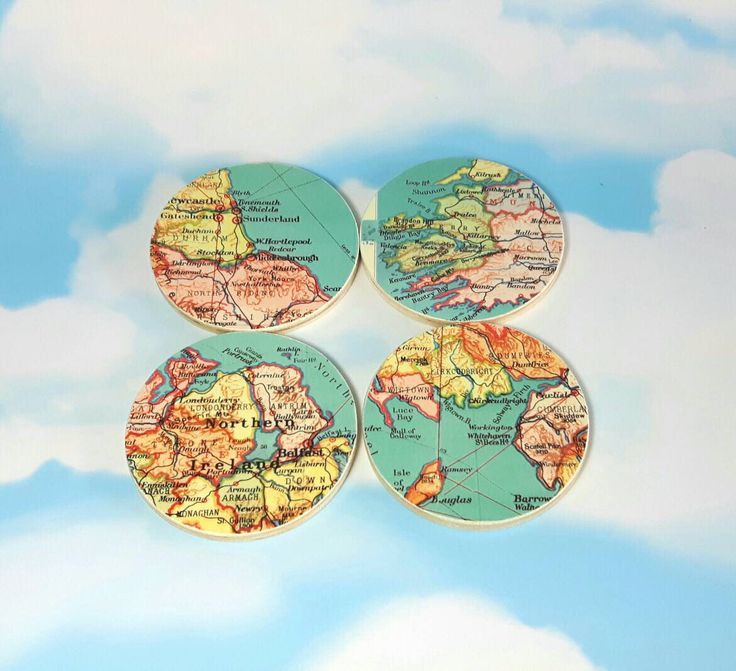 Map Coasters, Wanderlust, Set of 4, Home Decor Ideas, Travel Gifts, Coasters, Housewarming Gift, Wanderlust Gifts, World Map Gifts by QuirkyArtsHere on Etsy https://www.etsy.com/uk/listing/511363918/map-coasters-wanderlust-set-of-4-home