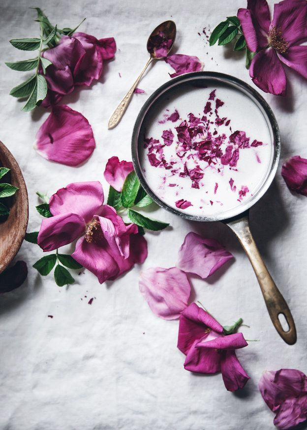 Vegan coconut + rose petal ice cream with cardamom crumble topping /