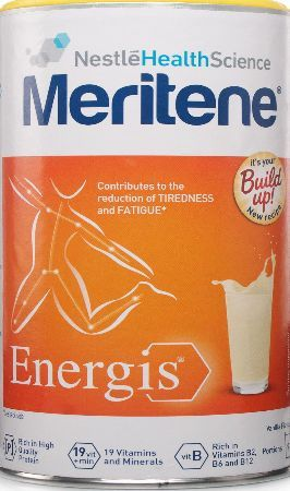 Meritene Energis Vanilla Meritene Energis Vanilla - This nutritional energy shake is packed full of vitamins, minerals and proteins to give you vitality and energy. Its Vitamins B2,B6,B12 contribute to the reduction of tiredn http://www.comparestoreprices.co.uk/health-and-beauty/meritene-energis-vanilla.asp