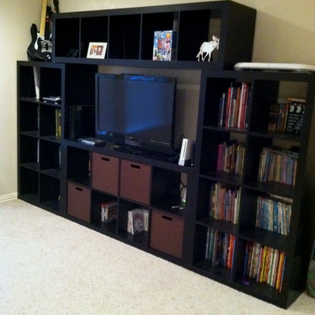 couldn 39 t find the perfect entertainment center for the boys game room ikea shelves some. Black Bedroom Furniture Sets. Home Design Ideas