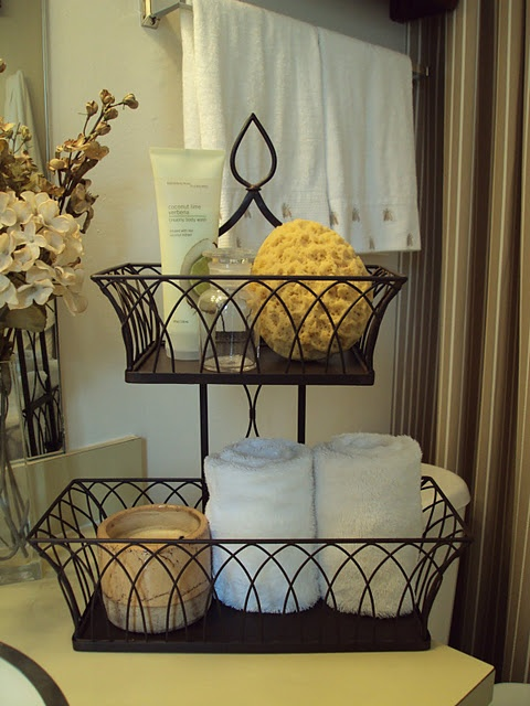 Dark Color Wire Basket With Tiers For Fruit In Kitchen Bathroom Counter Decorin Bathroombathroom Storagebathroom Counter Organizationbathroom