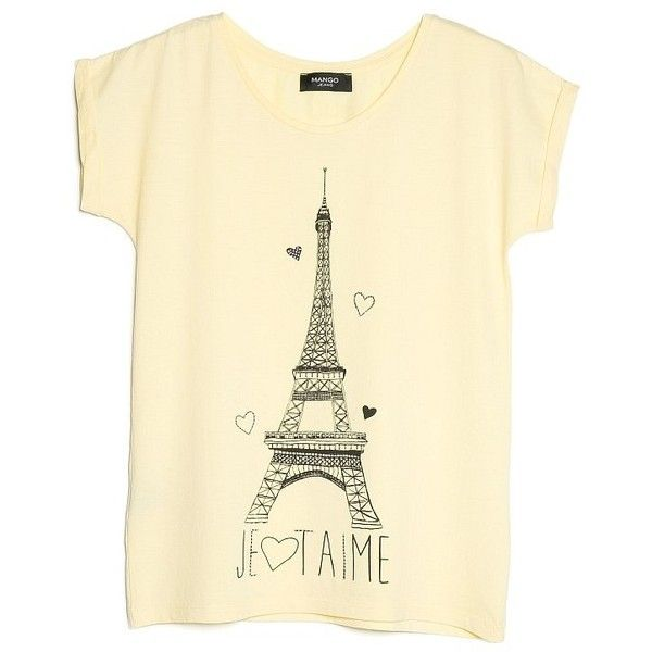Eiffel Tower T-Shirt ($12) ❤ liked on Polyvore featuring tops, t-shirts, shirts, rhinestone t shirts, embellished t shirts, pattern shirts, embellished tops and beige t shirt