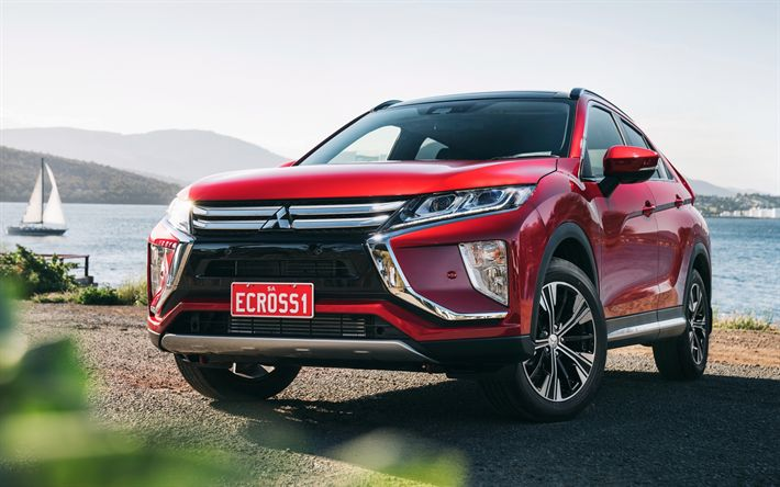 Download wallpapers Mitsubishi Eclipse Cross, 2018, red crossover, Japanese cars, new cars, Mitsubishi