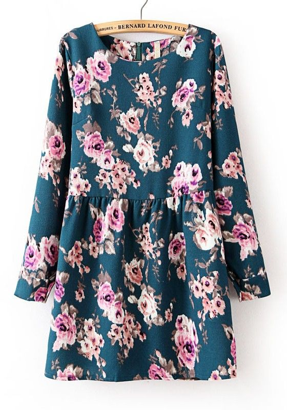 Dark Blue Floral Print Cotton Blend Mini Dress