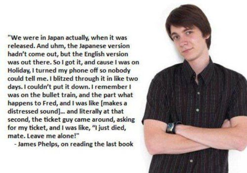 James Phelps, when he first read about Fred's death :'(James Of Arci, James Phelps, Fred Weasley, Harrypotter, Poor Fred, Funny, Fredweasley, The, Harry Potter Book