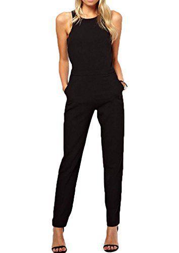 Minetome Femmes moulante sexy en mousseline de soie sans manches col en O Robe Barboteuses Combinaisons crepe trouser Jumpsuit (EU M):…