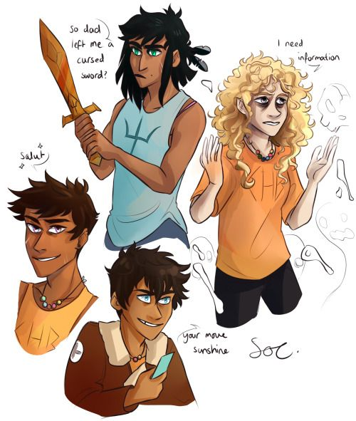 Piper daughter of Poseidon, Annabeth daughter of Hades, Percy son of Aphrodite, Nico son of Zeus