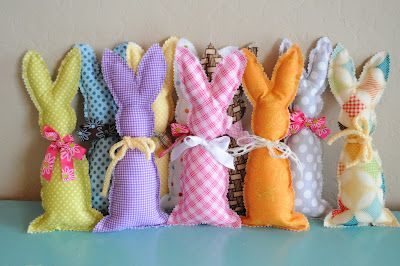 The Little Fabric Blog: A Basket of Bunnies - would make adorable #Easter gifts!