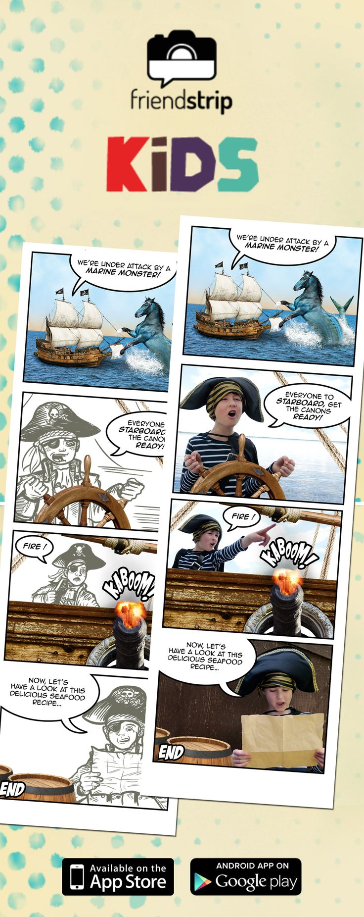 A one-of-its-kind app to take pictures with your kids and create personalized comic strips!