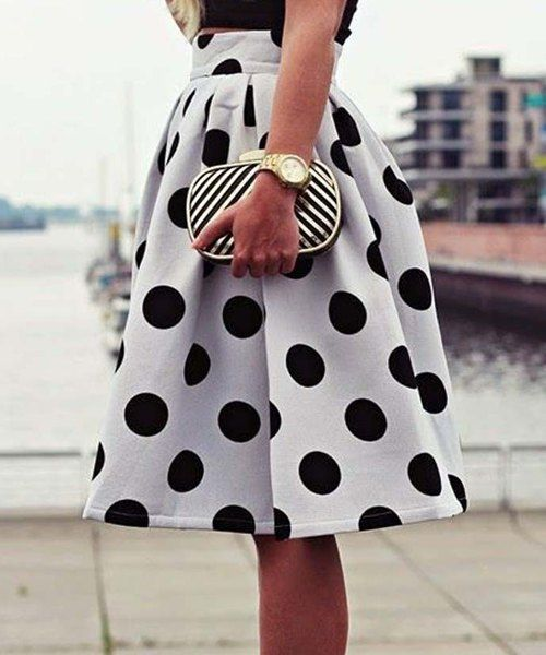 Vintage High-Waisted Polka Dot Ruffled Skirt For Women