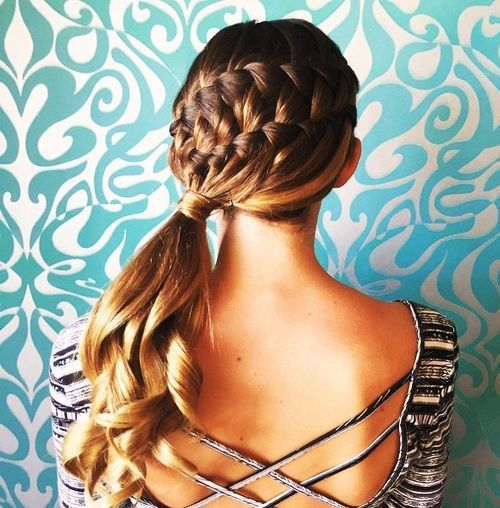 french braids and side ponytail