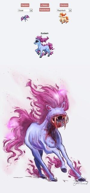 Pokemon Fusions - it's a pretty vampire horse. It also kinda reminds me of Ben 10...