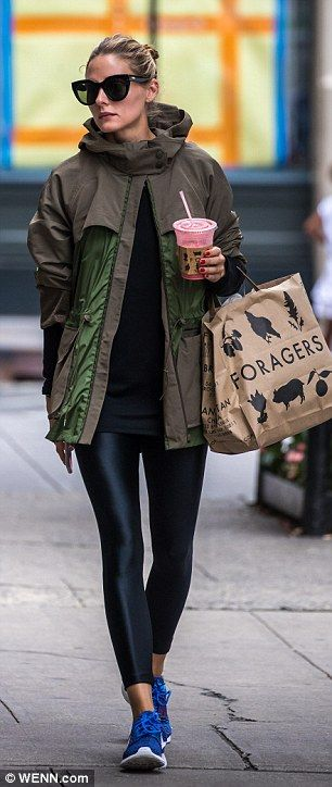 Foraging mode: On Thursday, Olivia stepped out to pick up some groceries and a delicious smoothie at Foragers artisan foods market