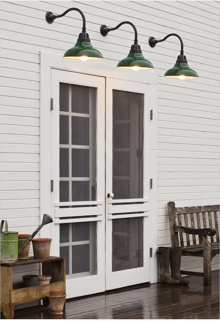 Double screen doors, barn light sconces