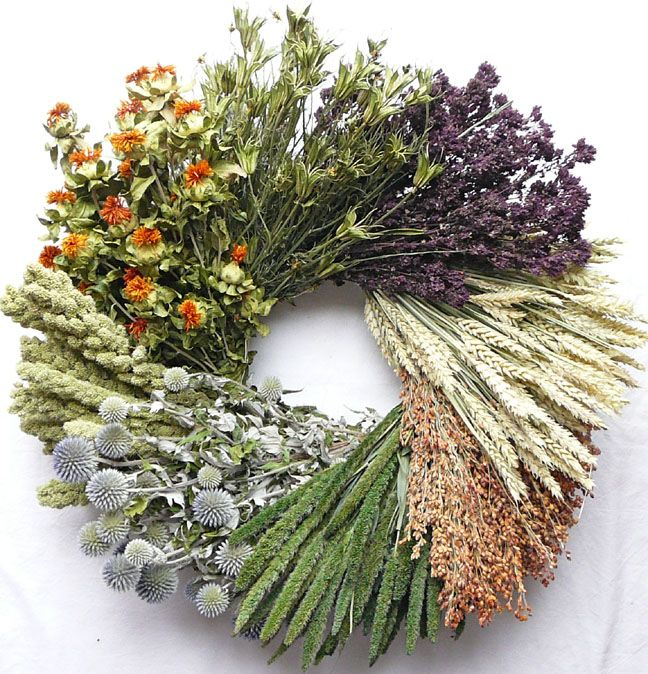 Vintage Dried Flower Wreath.  Measures 22-24 inches across by 5 inches deep.  $61.99