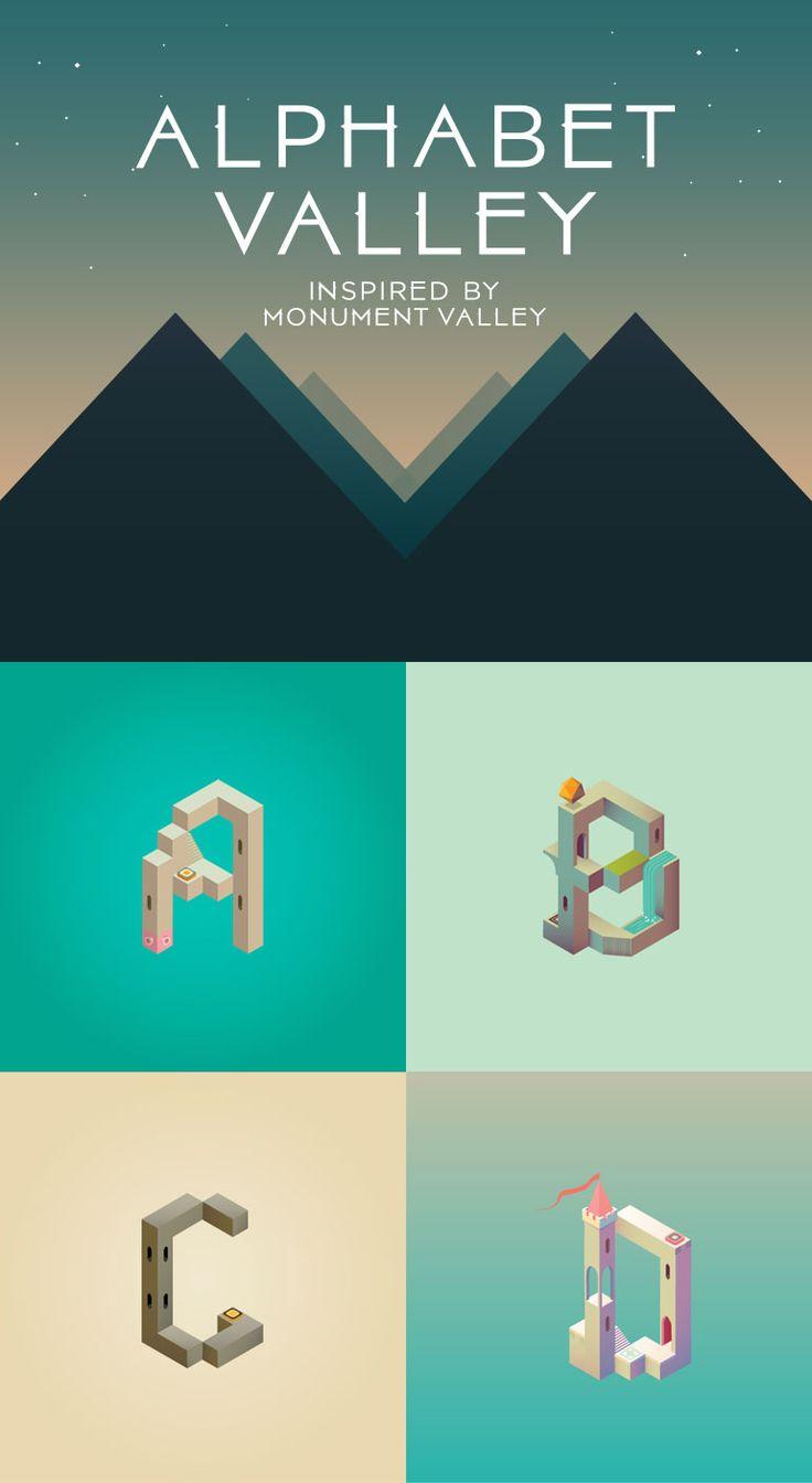 Alphabet, monument valley game, design