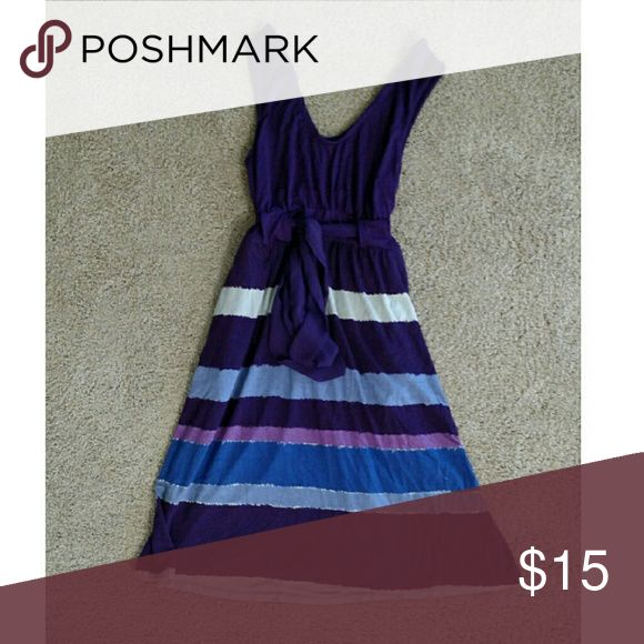 Liz Lange maternity drrss Liz Lange maternity Dress, from Target. Pre-owned, but in excellent used condition. It is purple with some blue and white stripes in it and ties under the chest. Liz Lange for Target Dresses