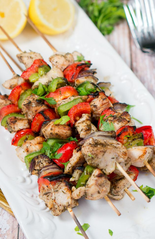 Juicy and flavorful Grilled Mediterranean Chicken Kebabs marinated in olive oil, lemon juice, garlic and spices make for a light, delicious and easy dinner. www.deliciousmeetshealthy.com