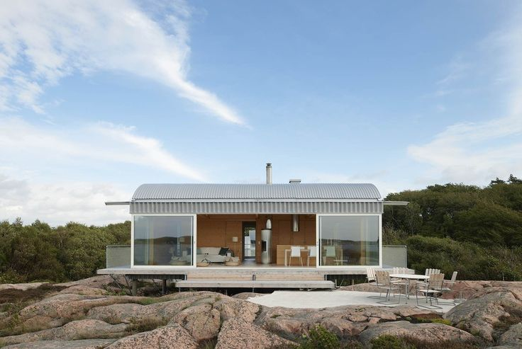 Situated between two fjords of the North Sea, this Swedish vacation home was built to fit the needs of a couple who wished to be able to host themselves,...