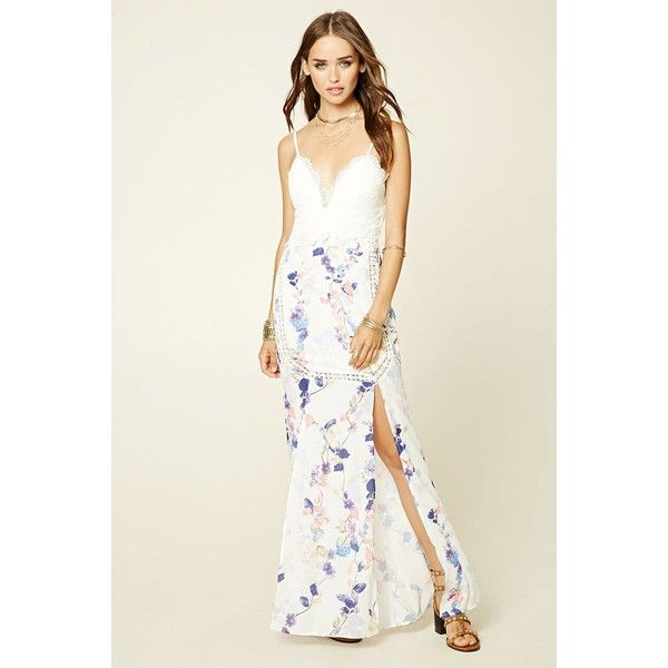 Forever21 Selfie Leslie Maxi Dress (£34) ❤ liked on Polyvore featuring dresses, gowns, white, maxi skirts, slit maxi skirts, floral maxi dress, white evening dresses and floral print maxi dress