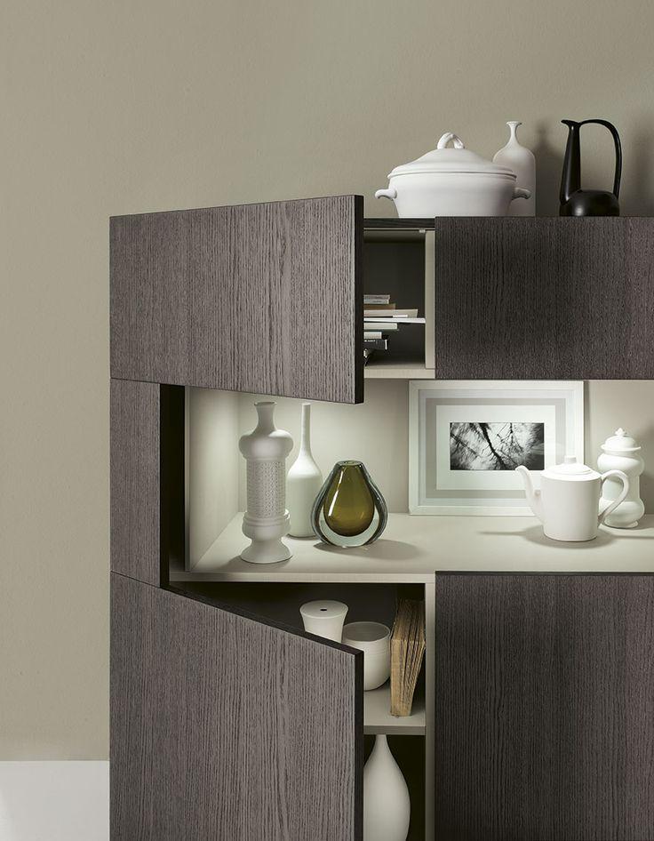 Complementi by ALF + DAFRÈ. METROPOLIS, Madia con vano a giorno, finiture: fashion Wood Rovere Carbone, vano Decor Tortora.