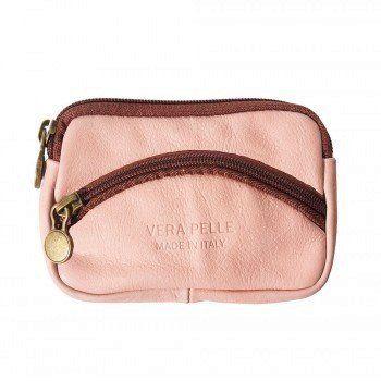 - Leder Munt Portemonnee voor dames in roze met bruin kleur