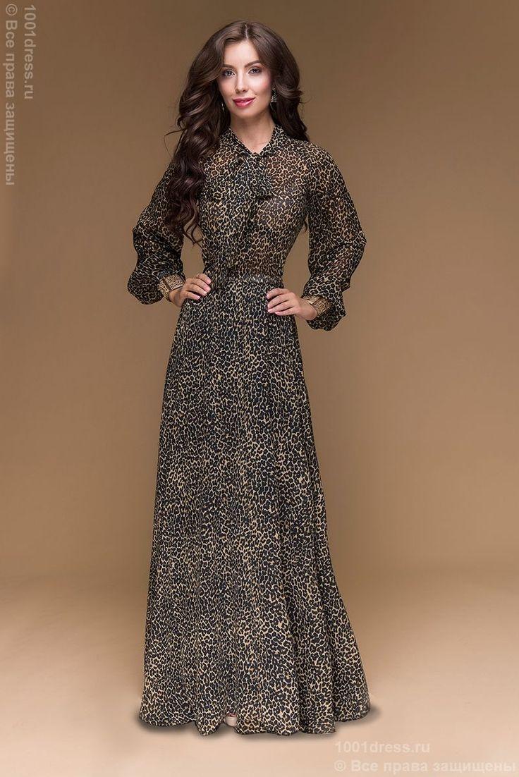 Купить шифоновое вечернее платье в пол с леопардовым принтом и бантом на шее