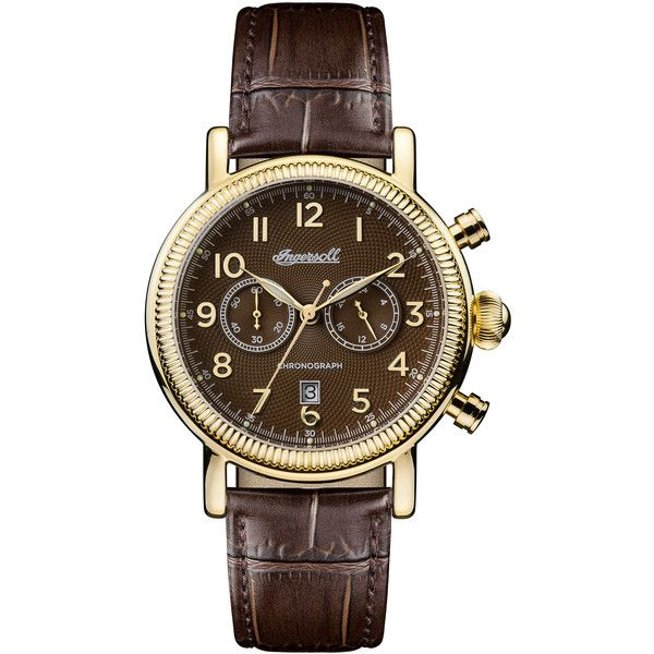 Ingersoll The Daniells 1892 Watch ($510) ❤ liked on Polyvore featuring men's fashion, men's jewelry, men's watches, blue dial mens watches, mens gold watches and mens gold pocket watches