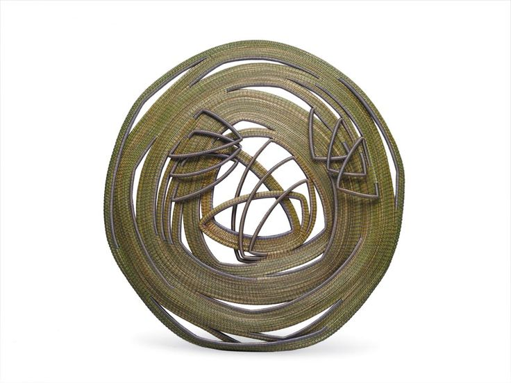 """Rhythm in Blue"" by Debora Muhl. 32"" diameter x 4"" 2004, sweetgrass, ribbon, waxed linen #finecraft http://deboramuhl.com/"