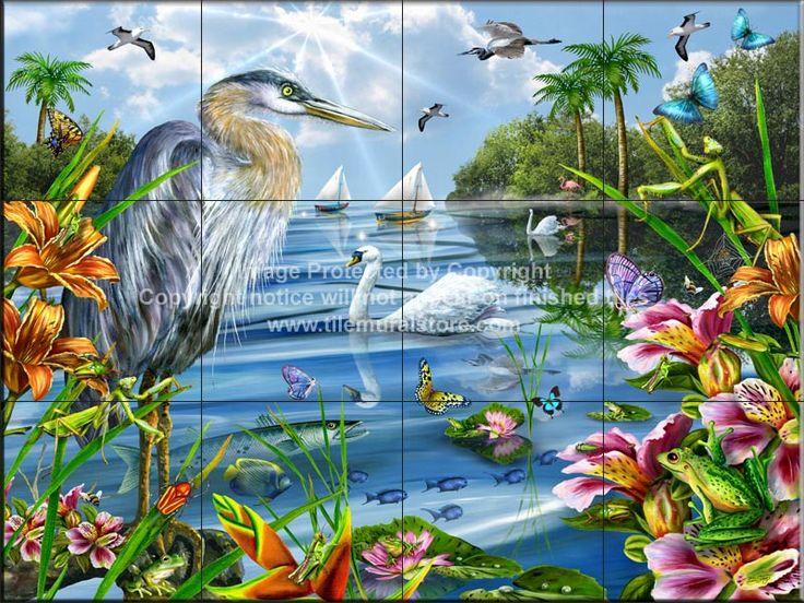 Kitchen backsplash ideas - Birds on tile - Blue Heron and Friends - Tile Mural