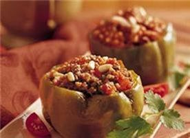 Basic stuffed peppers recipe - mix it up by switching rice for quinoa, using red peppers instead of green, or using different veggie/meat filling.