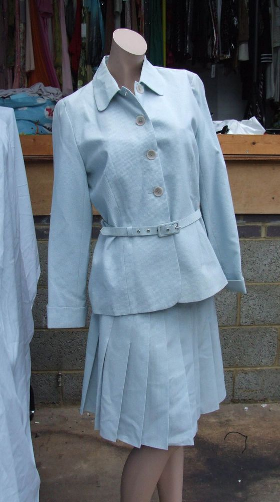 A Really Lovely Box Pleat Skirt & a Button Down Collared, Belted Smart Jacket Suit Set in a Pale Blue Check. Be the Belle of the Ball, be Fabulously Flamboyant, Be Super Sensational - But Above all Always be YOU! | eBay!