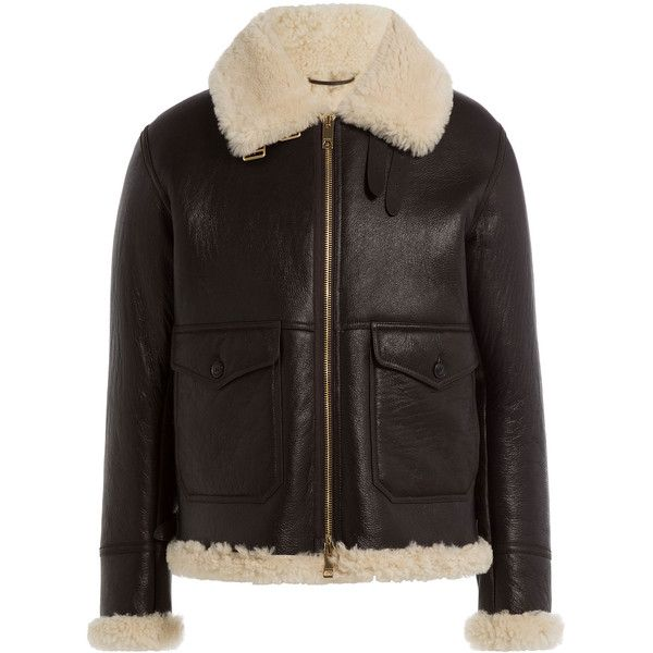 Burberry Brit Lambskin and Shearling Jacket (€2.085) ❤ liked on Polyvore featuring men's fashion, men's clothing, men's outerwear, men's jackets, brown, burberry mens jacket, mens brown jacket, men's lambskin leather jacket, mens shearling jacket and mens sherpa lined jacket