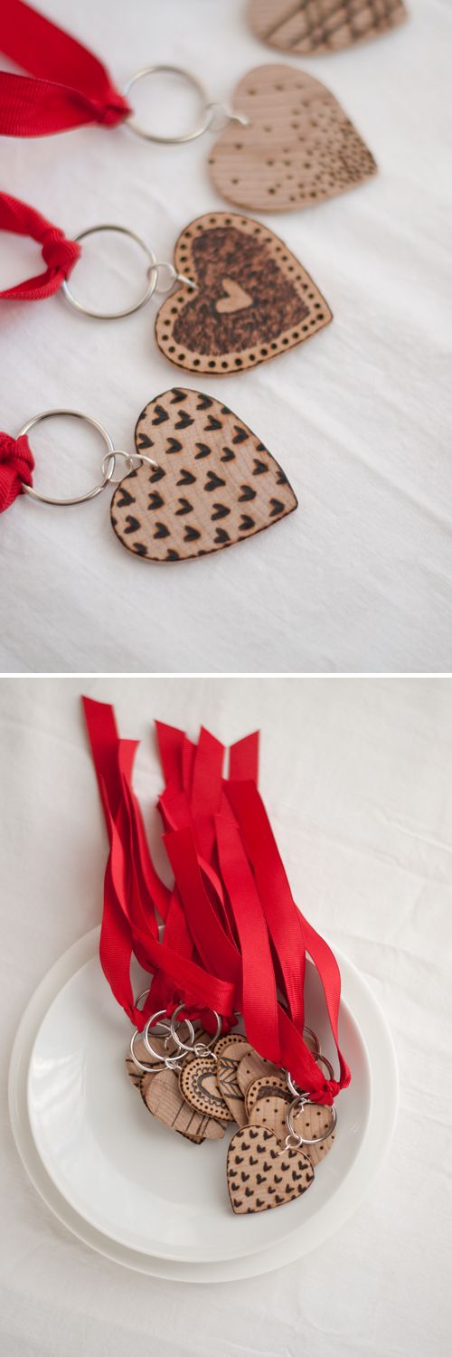 Etched Wooden Heart Key Fobs