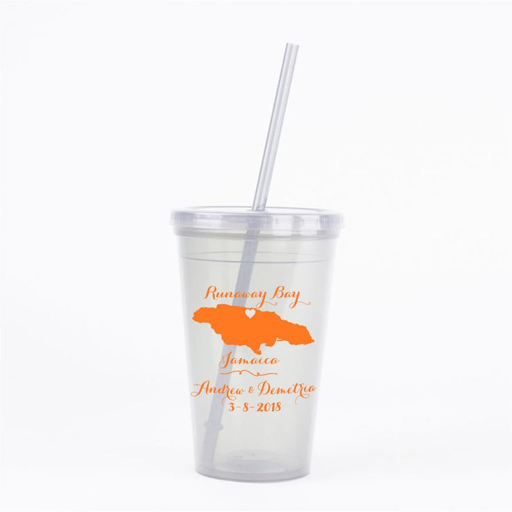 Wedding Favors Jamaica Destination Beach Wedding 60 Personalized 16oz Double Wall Tumblers with Lid & Straw OOT Guest Bag Cup Beach Favor by Factory21 on Etsy
