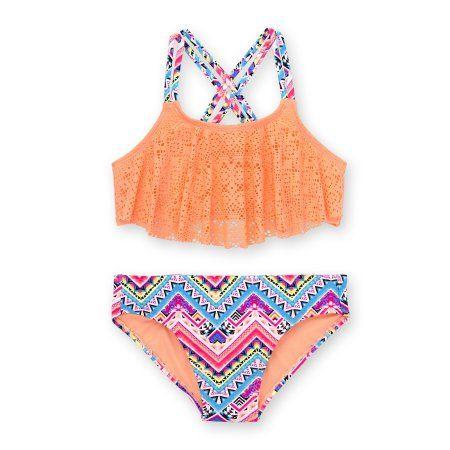 bb9692eb2c89ed Wonder Nation - Girls' Crochet Flounce Top Fashion Bikini Swimsuit -  Walmart.com