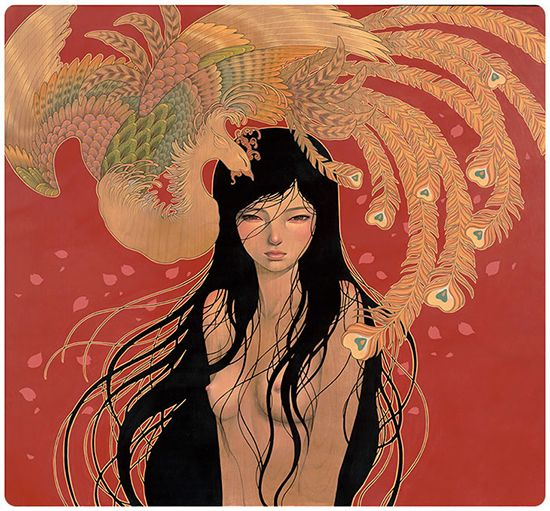 Audrey Kawasaki ~ Mizuki, oil, graphite and ink on wood panel, 35x35 in, 2014. http://www.audrey-kawasaki.com/