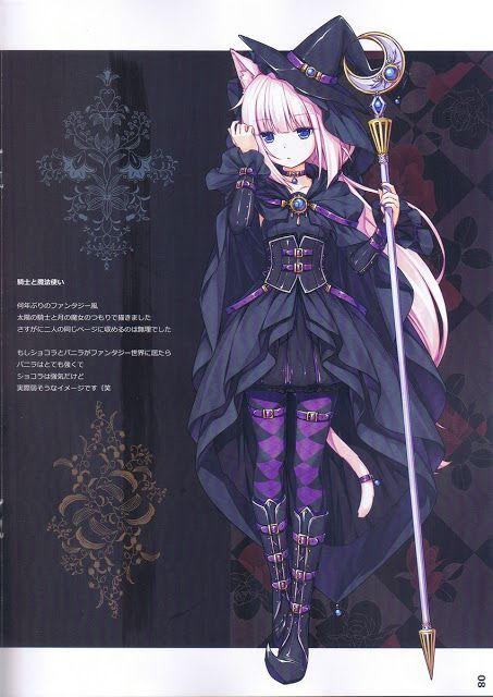 Nekomimi anime witch girl wallpaper.