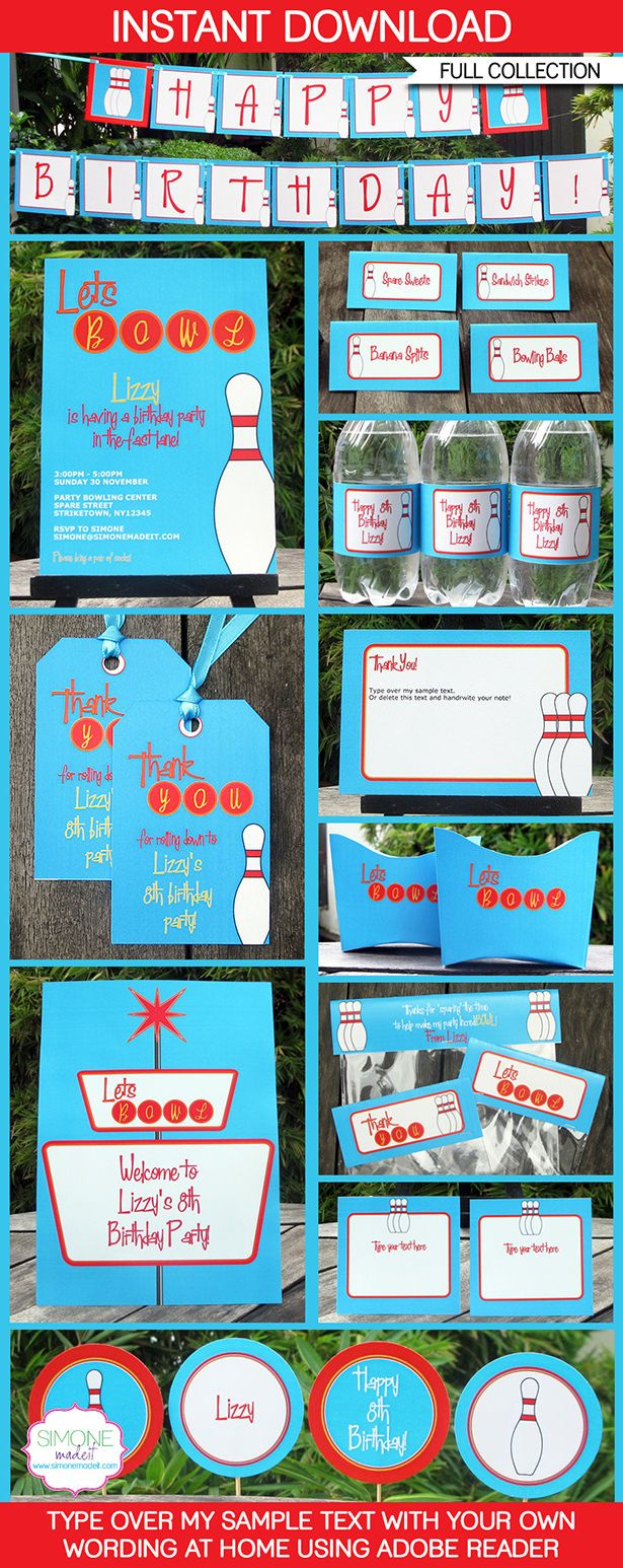 Instantly download my Bowling Party Printables, Invitations & Decorations! Personalize the templates easily at home & get your party started right now!