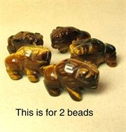 BLESSING! TIGER'S EYE Hand Carved BISON / BUFFALO Beads 009277TE