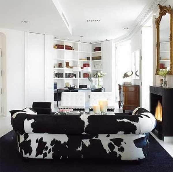 I Dream Of A Cow Print Couch Carlos Serra Valencia Home Black White Living Room Cowhide Barcelona Chairs Bookshelves